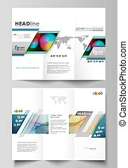 Tri-fold brochure business templates on both sides. Easy editable layout in flat style, vector illustration. Colorful design, overlapping geometric shapes, waves forming abstract beautiful background.