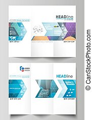 Tri-fold brochure business templates on both sides. Easy editable vector layout in flat style. Bright color pattern, colorful design with overlapping shapes forming abstract beautiful background.