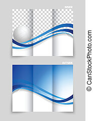 Tri-fold brochure design with wavy blue lines and volleyball