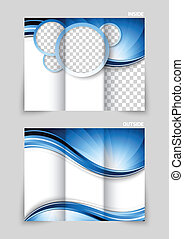 Tri-fold brochure design with blue circles and wave