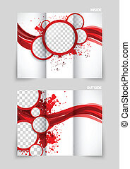 Tri-fold brochure design with red circles and wave in grunge...