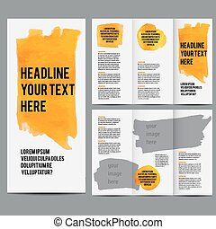 Corporate Leaflet Vector modern tri-fold brochure design templates collection with hand drawn watercolor stain