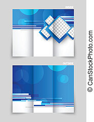 Tri-fold brochure template design with blue straight lines...