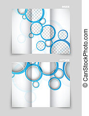 Tri-fold brochure template design with blue circles