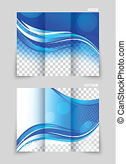 Tri-fold brochure template design in blue wavy style