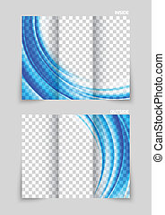 Tri-fold brochure template design in blue color