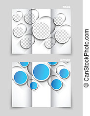 Tri-fold brochure template design with blue cut out circles