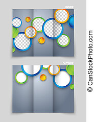 Tri-fold brochure template design with colorful circles