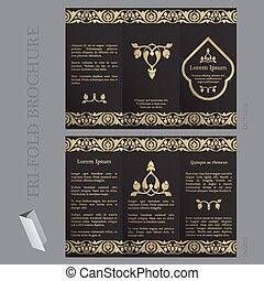 Tri-fold brochure template with ottoman arabesque pattern in...