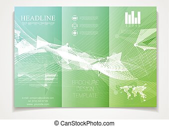 Tri-fold brochure vector design template. Corporate flyer with low poly and waves