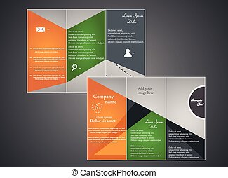 Tri-fold business brochure template with web and design