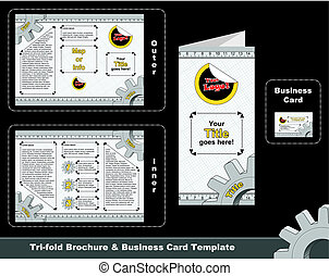 Tri-fold depliant and business card template. Technical...