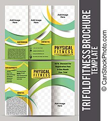 Tri Fold Fitness Brochure Template Design vector illustration