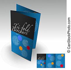tri-fold, folleto, diseño