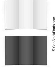 tri-fold, isolé, arrière-plan., vecteur, gabarit, vide, brochure, blanc