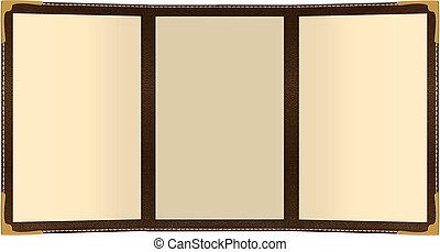 Tri Fold Menu - a three page leather menu isolated on white