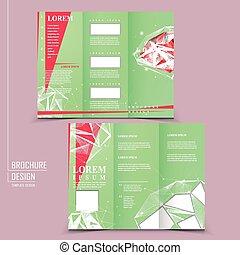 tri-fold, ontwerp, mal, prachtig