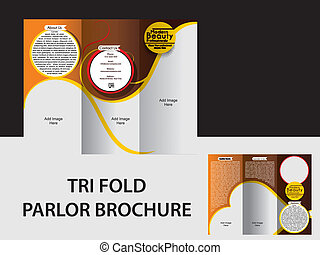TRI FOLD PARLOR BROCHURE VECTOR ILLUSTRATION