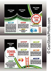 tri fold school brochure template vector illustration