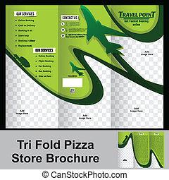 tri fold trevel store brochure vector illustration