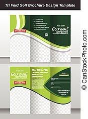 tri, folleto, diseño, plantilla, golf
