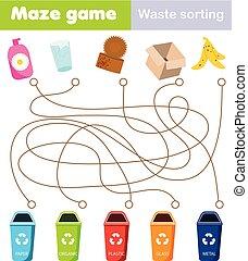 tri, gaspillage, jeu, tout petits enfants, children., thème, gosses, relier, activité, bin., labyrinthe, déchets ménagers