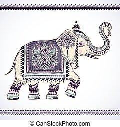 tri, gráfico, loto, vendimia, étnico, vector, indio, africano, elephant.