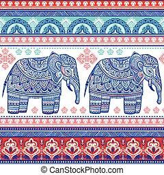tri, graphique, lotus, vendange, ethnique, vecteur, indien, africaine, elephant.