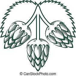 Tri-Hop Emblem - Stylized emblem featuring three hop cloves...