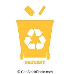 tri, illustration., coloré, grand, recyclage, -, vecteur, battery., gaspillez récipients