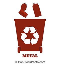 tri, illustration., coloré, grand, recyclage, -, vecteur, récipients, gaspillage, metal.