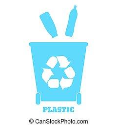 tri, illustration., coloré, grand, recyclage, -, vecteur, récipients, gaspillage, plastic.