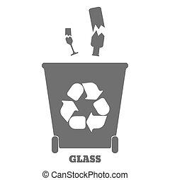 tri, illustration., coloré, grand, recyclage, -, vecteur, verre., gaspillez récipients