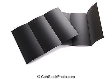 tri, mockup, libretto, rendering., isolato, piegato, fondo., nero, sagoma, vuoto, bianco, design., tuo, vuoto, 3d