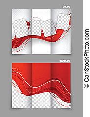 tri, piega, ondulato, rosso, opuscolo