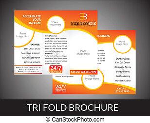 tri, pli, concept abstrait, brochure