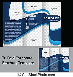 tri, pliegue, corporativo, folleto