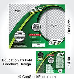 tri, pliegue, educación, diseño, folleto