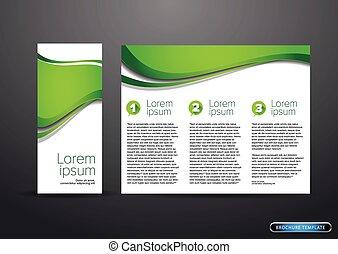 tri, pliegue, empresa / negocio, plantilla, folleto