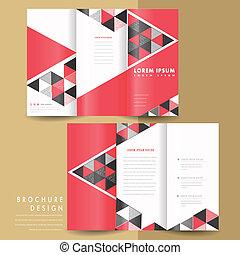 tri, pliegue, geométrico, moderno, folleto