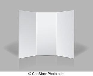tri, pliegue, presentación, folleto, blanco