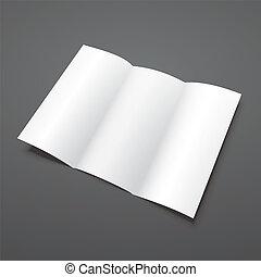 tri, pliegue, vector, blanco, folleto, blanco, template.