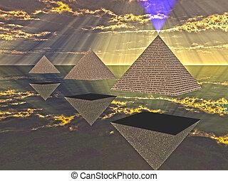 triade, flotter, pyramides