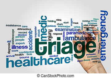 Triage word cloud concept on grey background