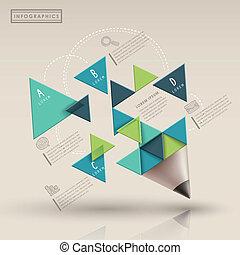 triaingle, crayon, infographic, gabarit, créatif