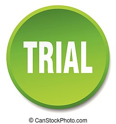 trial green round flat isolated push button