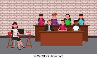 trial jury and businesswoman characters ,4k video animated