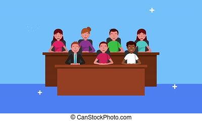 trial jury avatars characters animation ,4k video animated