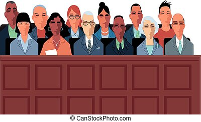 Trial jury illustration - 12 jurors sit in a jury box at a...