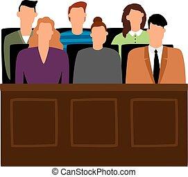 trial., procesamiento, vector, gente, jurado, courtroom, ...